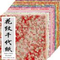 Yuzen Chiyogami floral patterns, Assorted colours, 15cm x 15cm, 1 case of 3 packs, 90 sheets, 70 gsm, [RCZ007A]